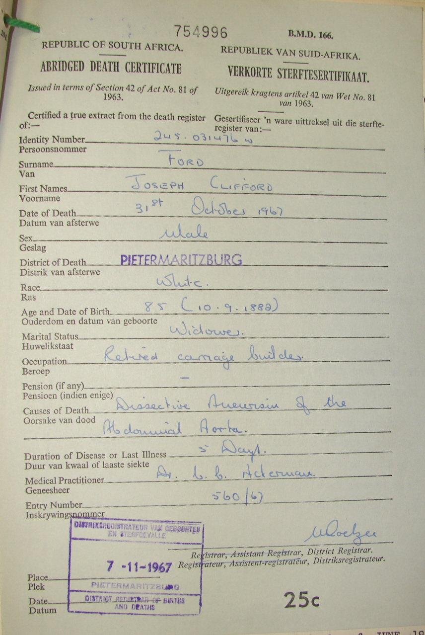 Ford family death certificate aiddatafo Images